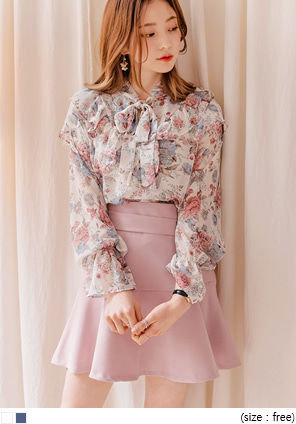 [TOP] LOTUS FRILL TIE CHIFFON BLOUSE