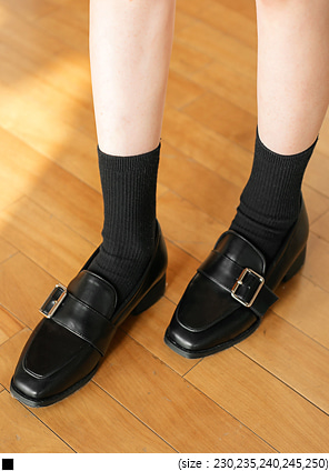 [SHOES] BUCKLE MIDDLE HEEL LOAFER