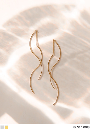 [JEWELRY] 2 LINE SIMPLE WAVE DROP EARRING