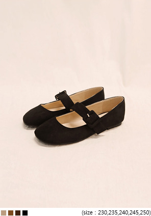 [SHOES] GIRLISH VELVET BUCKLE LOAFER
