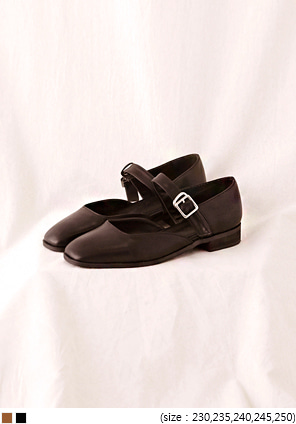 [SHOES] GIRLISH BUCKLE STRAPPED LOAFER