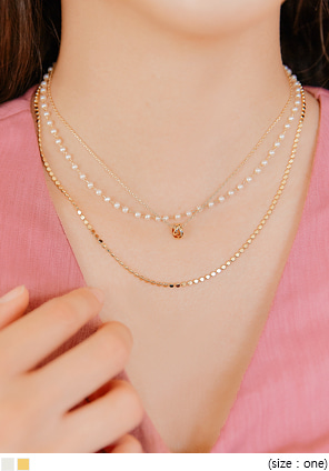[JEWELRY] PEARL POINT LAYERED NECKLACE