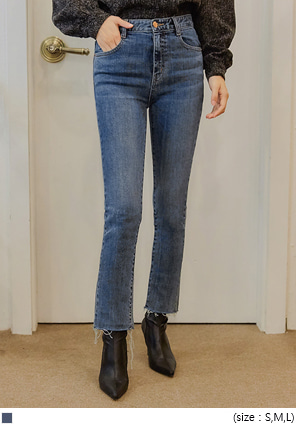 [BOTTOM] DERANG SLIM STRAIGHT DENIM PANTS