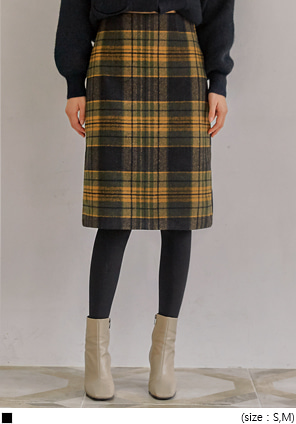 [SKIRT] LEDIN WOOL CHECK SLIT MIDI SKIRT