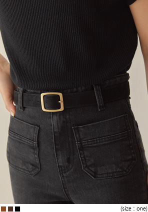 [ACC] ANTIQUE GOLD FRAME SUEDE BELT