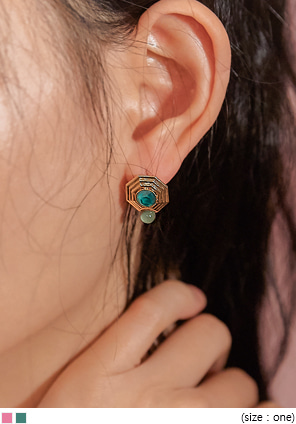 [JEWELRY] ART GOLD OCTAGON EARRING