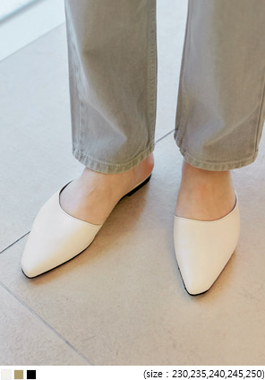[SHOES] MOSELLE OBLIQUE LINE MULE SLIPPER