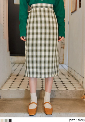 [SKIRT] DIENNE CHECK SLIT BANDING MIDI SKIRT