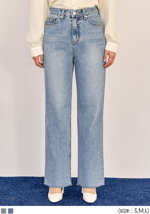 [BOTTOM] TORIER CUTTING WIDE DENIM PANTS