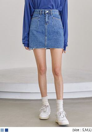 [SKIRT] CABLE CUTTING DENIM MINI SKIRT