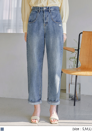 [BOTTOM] HOBEN DAMAGE BAGGY DENIM PANTS