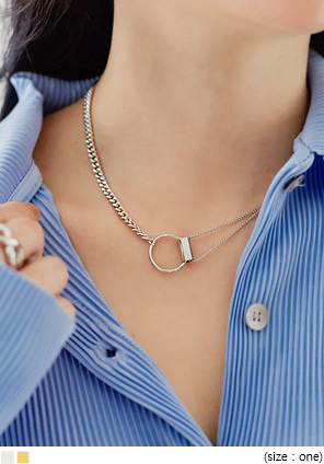 [JEWELRY] O RING UNBAL CHAIN NECKLACE