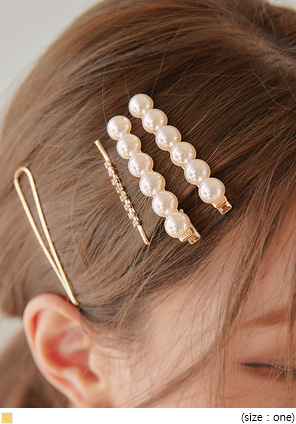 [ACC] 4 TYPE LAME PEARL HAIR PIN SET