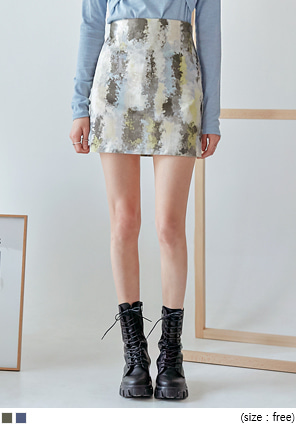 [SKIRT] WATERCOLOR BANDING MINI SKIRT