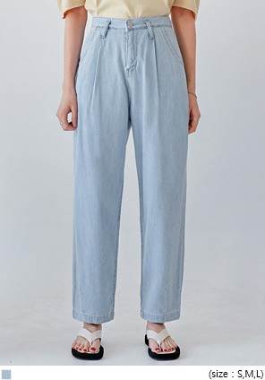 [BOTTOM] RISH PINTUCK WIDE DENIM PANTS
