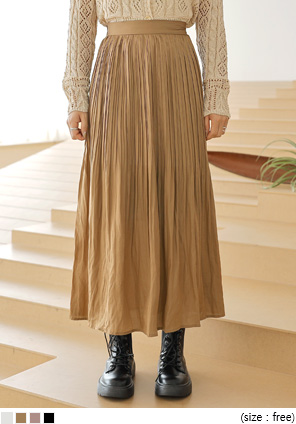 [SKIRT] SOAP WRINKLE PLEATS LONG SKIRT