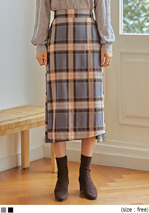 [SKIRT] RUNNY CHECK SLIT LONG SKIRT